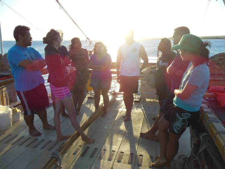 Friends & I meet the crew on Hokule'a on Molokai in July 2013.