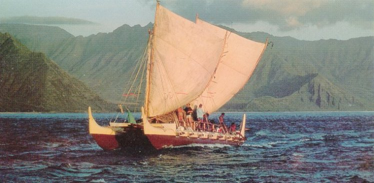 Hokule'a's first voyage to Tahiti in 1975, navigated by Mau